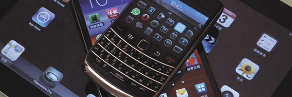 Blackberry Bold smartphone, Samsung Galaxy Note phablet and Apple iPad 2 tablet
